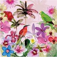 Салфетки за декупаж - Тропически цветя и птици - Пакет от 20 броя