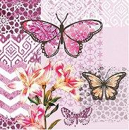 Салфетки за декупаж - Пеперуди и цвете - Пакет от 20 броя