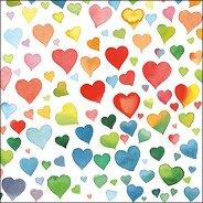 Салфетки за декупаж - Цветни сърца - Пакет от 20 броя
