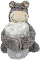 Бебешко одеяло с плюшена играчка - Хипопотамче - Размери 70 x 100 cm - продукт