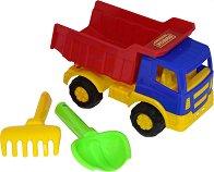 Камион - Самосвал - Комплект с лопатка и гребло - играчка
