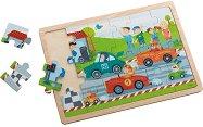 Бързи коли - Детски дървен пъзел в подложка -