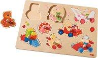 Моите първи играчки - Детски дървен пъзел с дръжки -