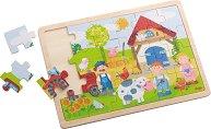 Ферма - Детски дървен пъзел в подложка -