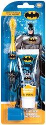 """Детски комплект за дентална грижа - Четка и паста за зъби от серията """"Батман"""" - лосион"""