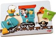 Влак - Детски дървен пъзел с дръжки -