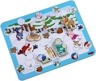 Зимна забава - Детски образователен пъзел с дървени елементи -