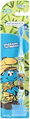 """Детска четка за зъби с меки влакна и капаче - От серията """"Смърфовете"""" - паста за зъби"""