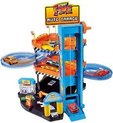 """Гараж с асансьор и автомивка - Комплект с колички от серията """"Street Fire"""" - играчка"""