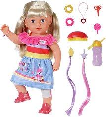 """Кукла с дълга руса коса - Sister - Комплект с аксесоари от серията """"Baby Born"""" - играчка"""