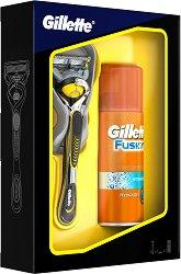 Подаръчен комплект за мъже - Gillette Fusion ProShield - Самобръсначка и гел за бръснене -