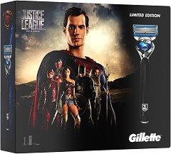 Подаръчен комплект за мъже - Gillette ProShield Justice League - Самобръсначка и гел за бръснене - олио
