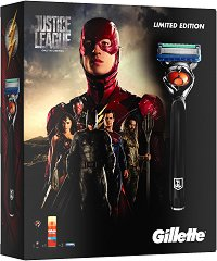 Подаръчен комплект за мъже - Gillette ProGlide Justice League - Самобръсначка и гел за бръснене -