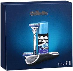 Подаръчен комплект за мъже - Gillette Mach 3 Turbo - Самобръсначка и гел за бръснене - продукт