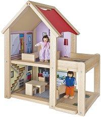 Дървена къща за кукли - Обзаведена с мебели - играчка