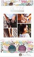 Бои с брокатен ефект за тяло - Пясъчни фигури - Комплект от 2 цвята, четка и лепенки