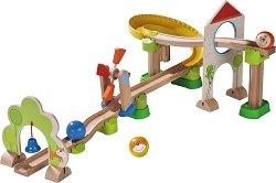 Сглобяема писта - Вятърна мелница - Детска дървена играчка с топчета -