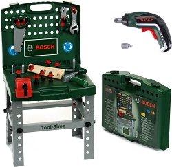 """Детска работилница с инструменти и винтоверт - Bosch - Играчка от серията """"Bosch-mini"""" -"""