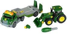 Камион с ремарке и трактор - John Deere 6215R - играчка