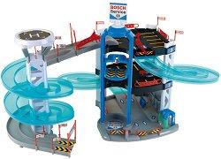 """Детски паркинг на 3 нива - Комплект с 2 колички от серията """"Bosch Service"""" - играчка"""