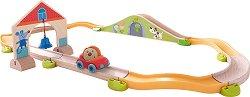 Сглобяема писта - Рали по моста - Детска дървена играчка с топчета -