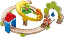 Сглобяема писта - Спирала - Детска дървена играчка с топчета -