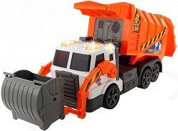 Боклукчийски камион с контейнер - Детска играчка със звуков и светлинен ефект - играчка