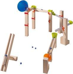 Сглобяема писта с катапулт - Скоростен изследовател - Детска дървена играчка с топчета -