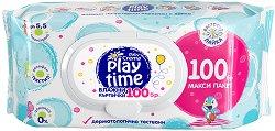 Бебешки мокри кърпички с екстракт от лайка - Play Time - Опаковка от 100 броя - крем