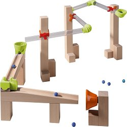 Сглобяема писта - Състезания - Детска дървена играчка с топчета -