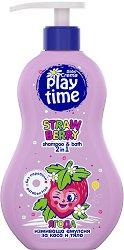 Измиваща емулсия 2 в 1 за коса и тяло - Play Time - С аромат на ягода -