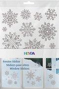 Коледни стикери за прозорци - Снежинки - Комплект от 3 листа