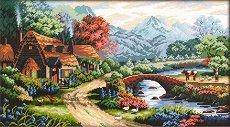 Щампован гоблен - Къща край реката - Комплект за картина с размери 40 x 24 cm