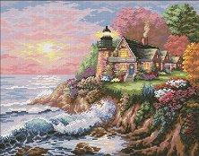 Щампован гоблен - Къщи край морето - Комплект за картина с размери 36 x 28 cm