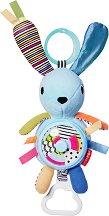 Зайче с дъвкалка - Плюшена играчка за детска количка или кошче за кола - играчка