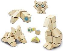 """Животни - 4 в 1 - Дървен конструктор от серия """"Docklets"""" - играчка"""