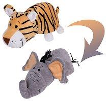 """Тигър - Слон - Преобразяваща се плюшена играчка от серията """"Flip a Zoo"""" - количка"""