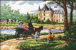 Щампован гоблен - На път - Комплект за картина с размери 46 x 30 cm