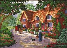 Щампован гоблен - Къща с градина - Комплект за картина с размери 39 x 28 cm