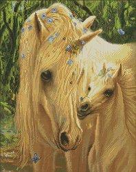 Щампован гоблен - Бели коне - Комплект за картина с размери 53 x 65 cm