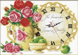 Щампован гоблен - Натюрморт с часовник - Комплект за картина с размери 59 x 44 cm