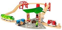 """Пътническа станция с влак и автобус - Дървена играчка с аксесоари от серията """"Brio: Комплекти с релси"""" -"""