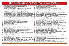 Табло: 100 причини да се гордеем, че сме Българи -