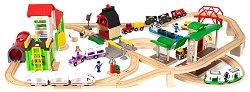 """Влакче с релси - Deluxe - Дървена играчка с аксесоари от серията """"Brio: Комплекти с релси"""" - играчка"""
