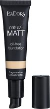 IsaDora Natural Matt Oil-Free Foundation - Матиращ фон дьо тен за естествена визия -