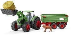 """Трактор с ремарке - Комплект фигури и аксесоари от серията """"Животните от фермата"""" -"""