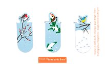 Мини магнитни разделители за книга - Зимни птички - Комплект от 3 броя -