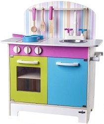 Детска кухня - Джулия - Дървена играчка с аксесоари - играчка