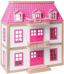 Дървена къща за кукли - Вила Вистерия - Обзаведена с мебели - играчка
