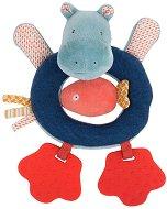 """Хипопотам - Плюшена играчка с дрънкалка и дъвкалка от серията """"Les Papoum"""" -"""
